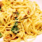 spaghetti carbonara spring onion