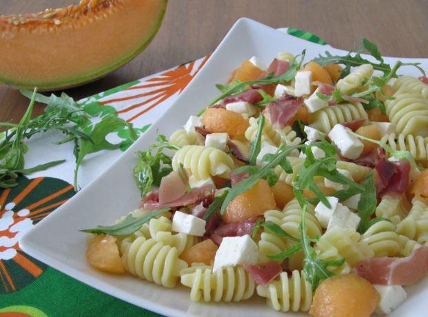 Melon and prosciutto pasta salad