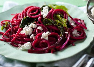 Roasted beetroot spaghetti with ricotta