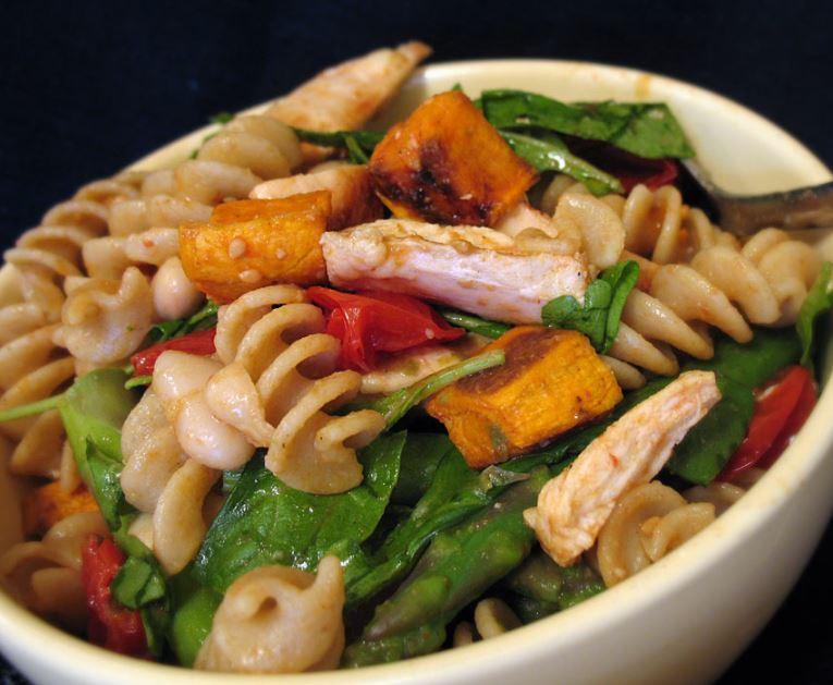Warm chicken and pasta salad