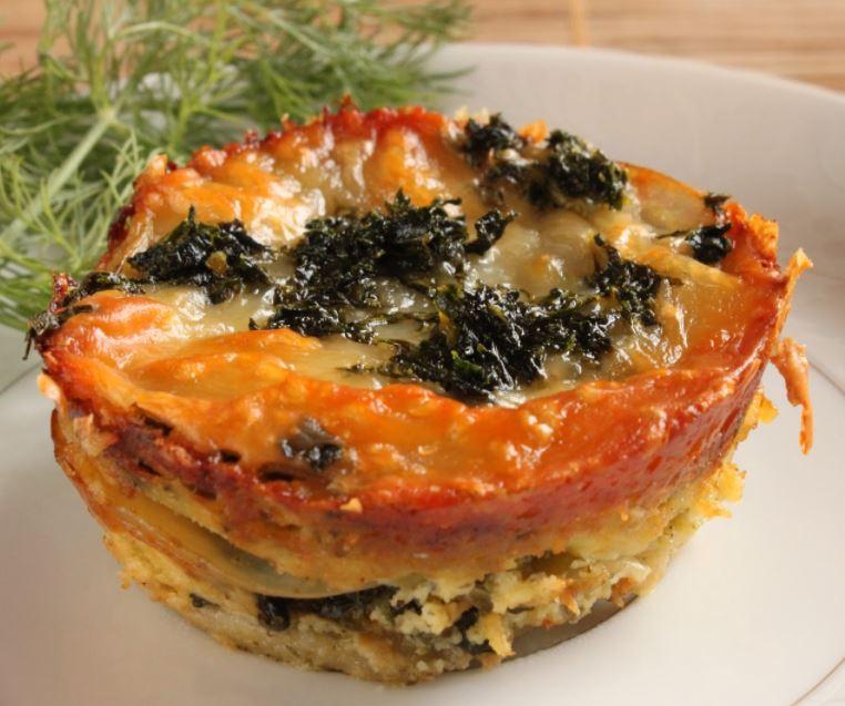 Mini potato lasagne with Tuscan kale and pesto