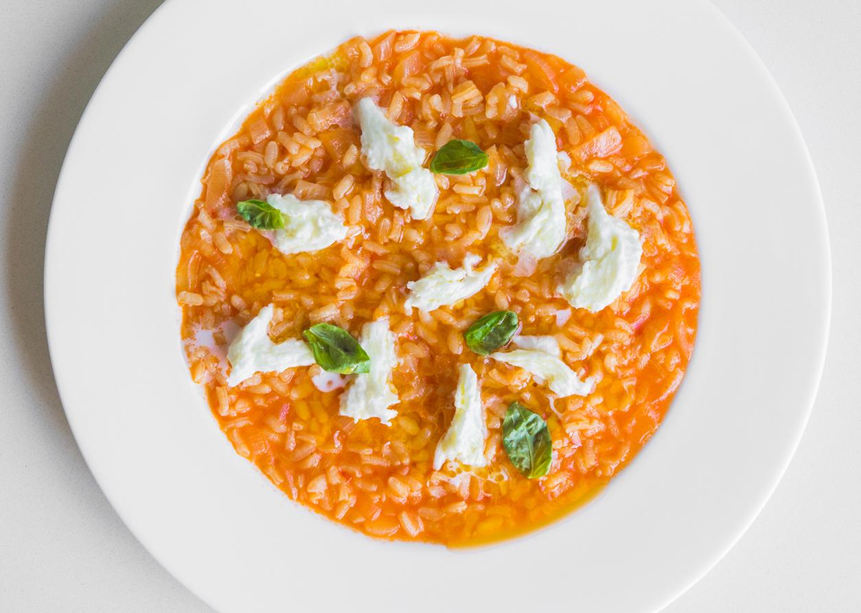 Tomato and fresh bufala mozzarella risotto