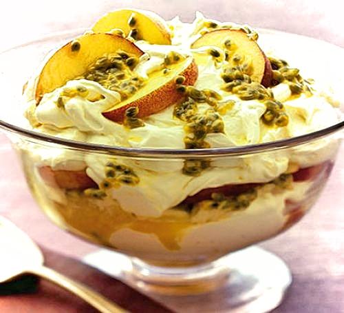 Passion fruit and peach tiramisu
