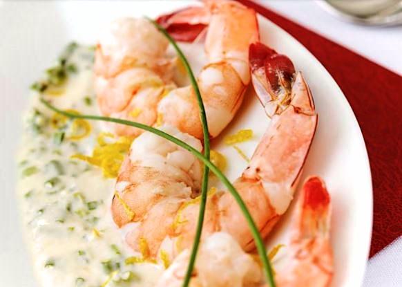 Shrimp cocktail with orange and horseradish mayonnaise