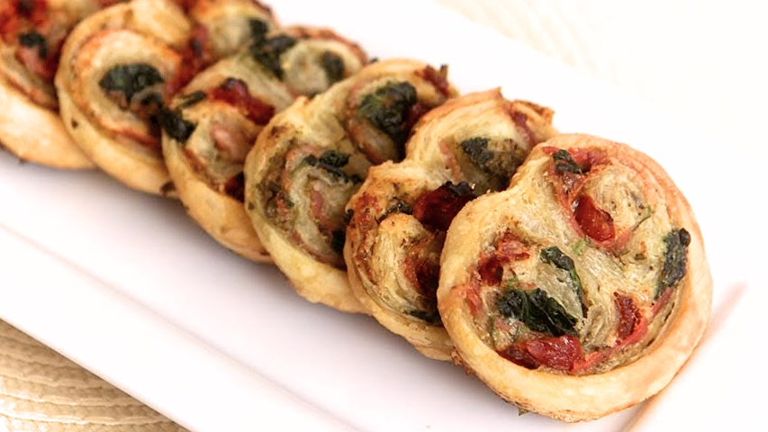 Savory Palmiers with spinach and prosciutto
