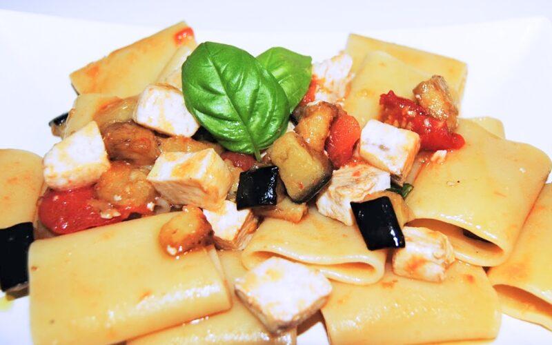 paccheri with swordfish and eggplant