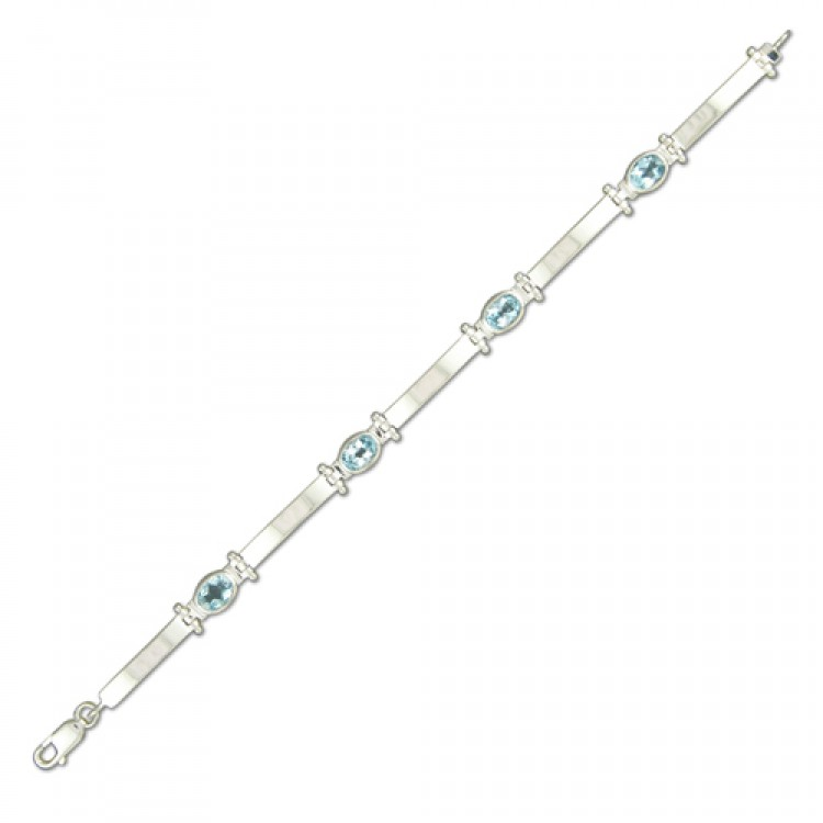 18.5cm/7.25in oval blue topaz and bars