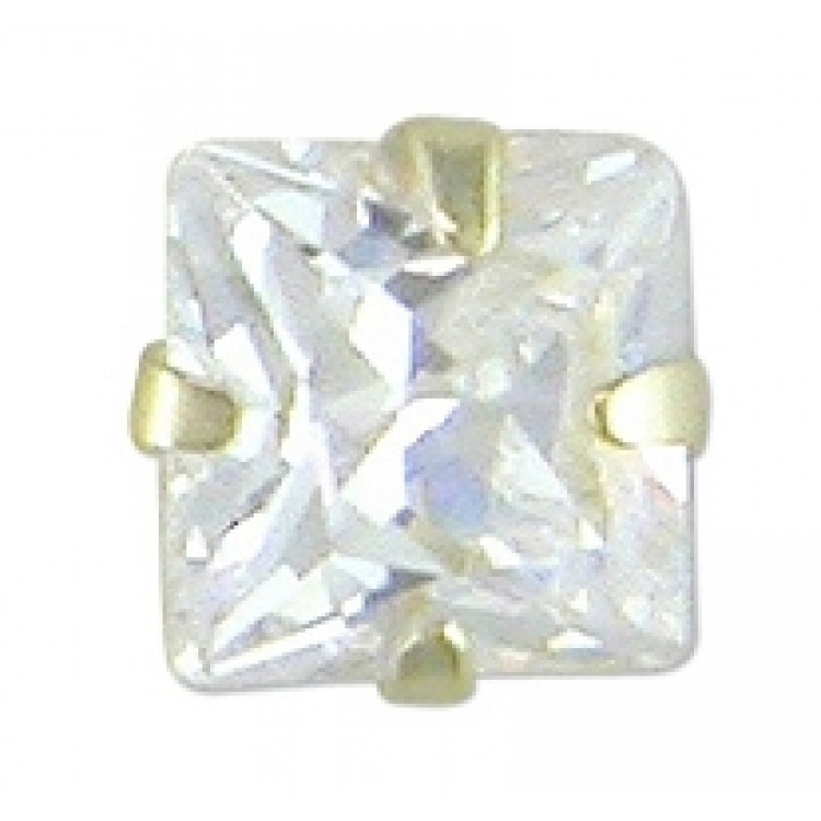 Mens square cubic zirconia stud 4mm