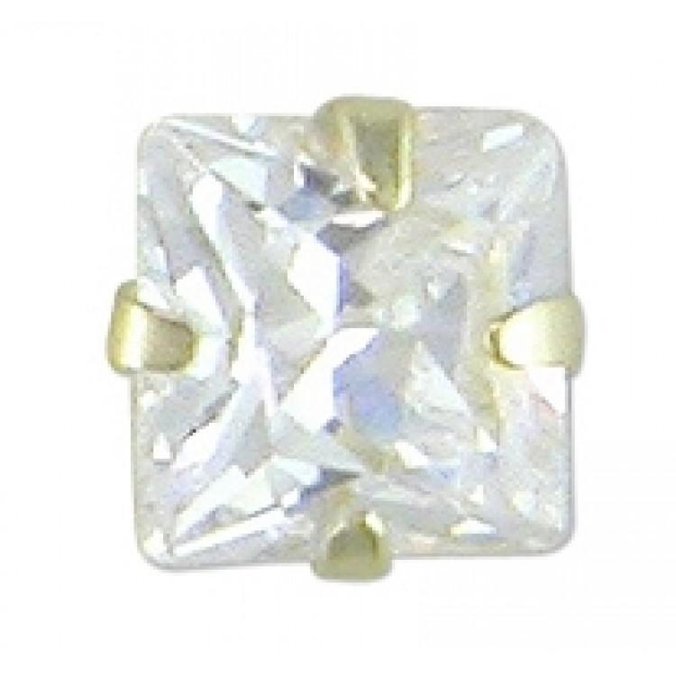 Mens square cubic zirconia stud 4mm
