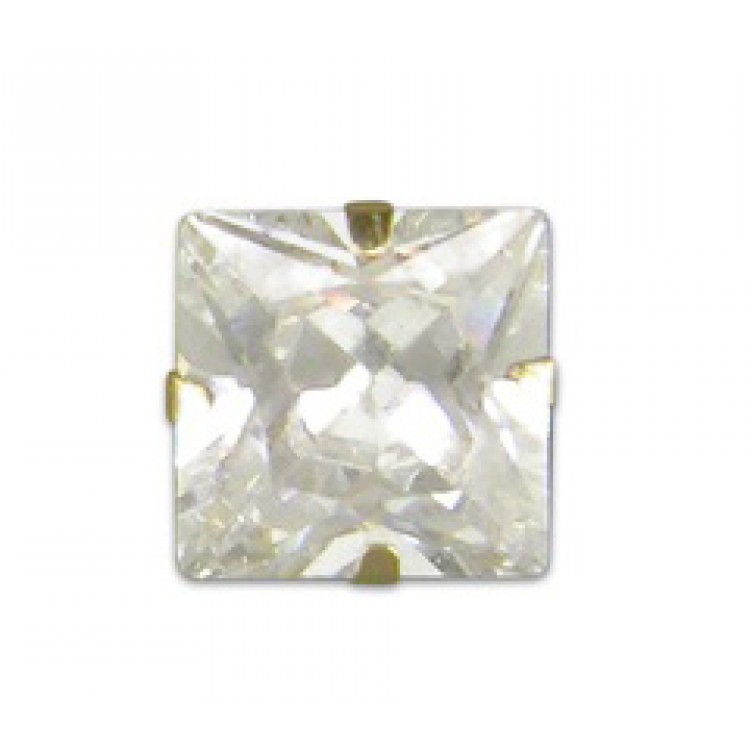 Mens square cubic zirconia stud 5mm