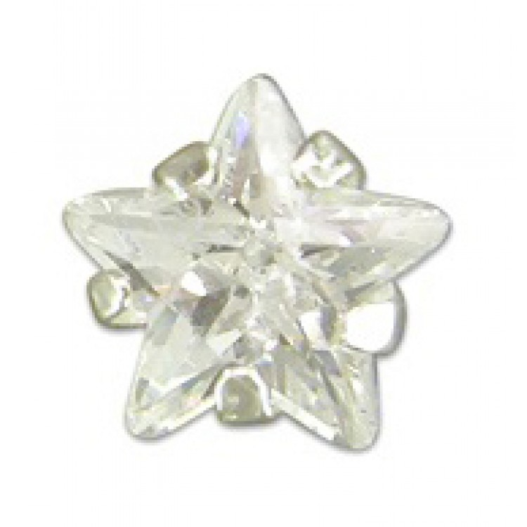 Mens single star cubic zirconia stud 5mm