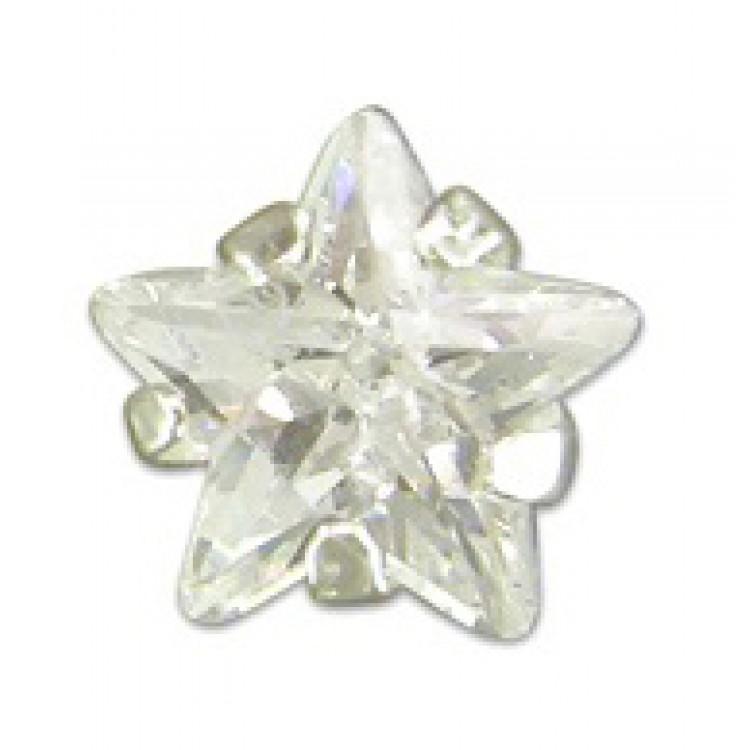Mens single star cubic zirconia stud 5mm