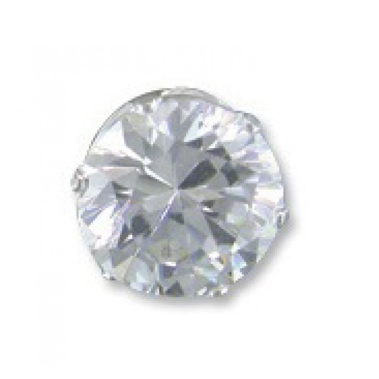 Mens round cubic zirconia stud 9mm