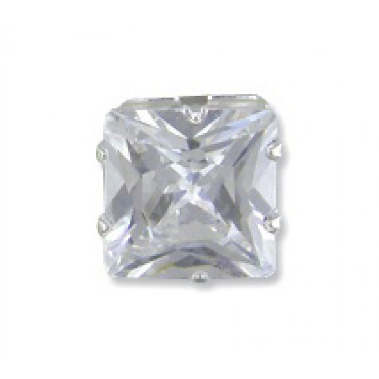 Mens square cubic zirconia stud 8mm
