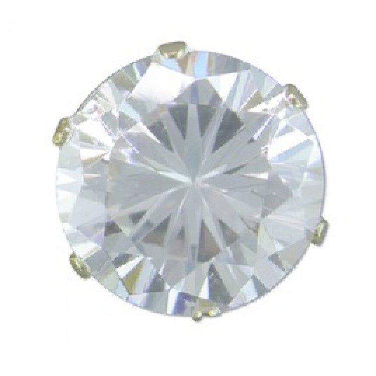 Mens round cubic zirconia stud 10mm