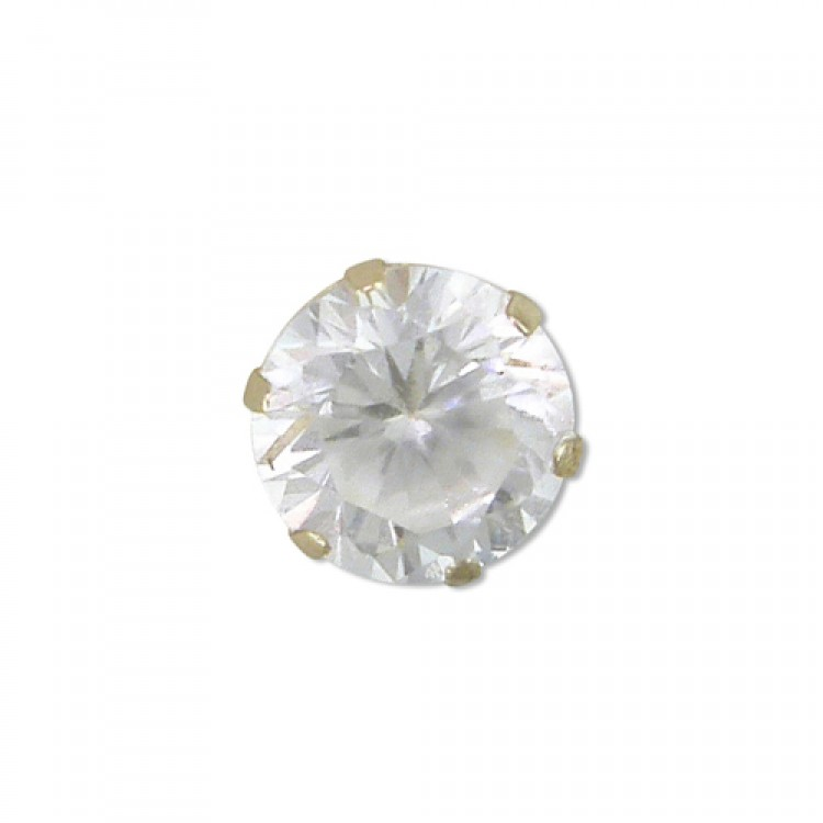 Mens single round cubic zirconia stud 4mm