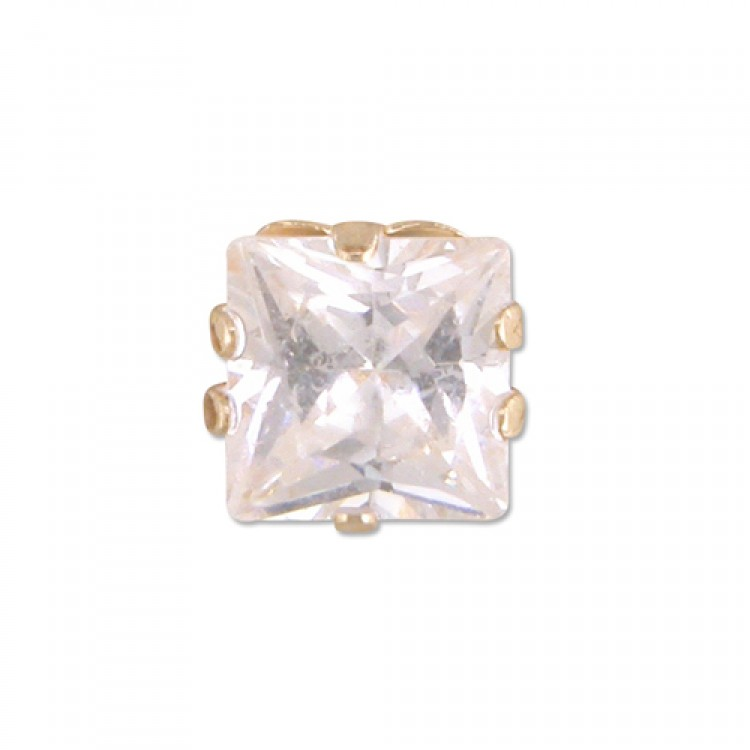 Mens single square cubic zirconia stud 5mm