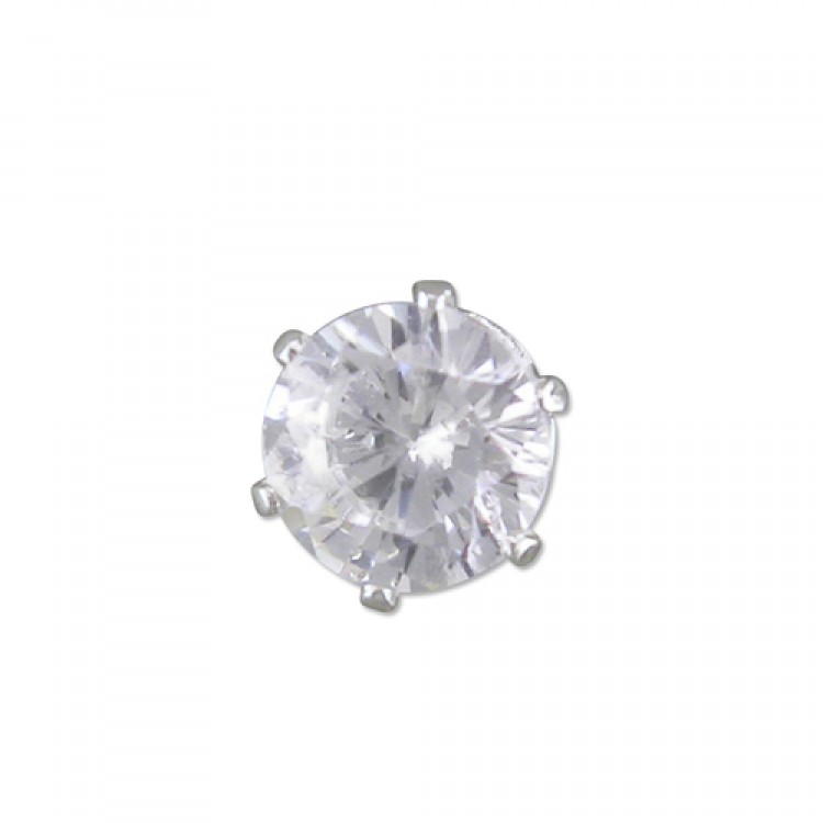 Mens single round cubic zirconia stud 5mm