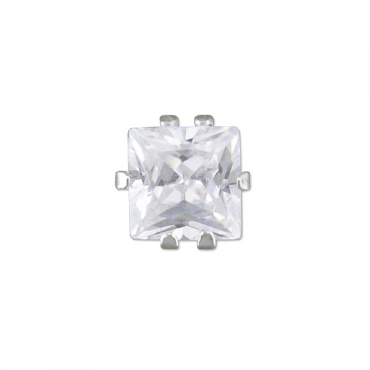 Mens signle square cubic zirconia stud 5mm