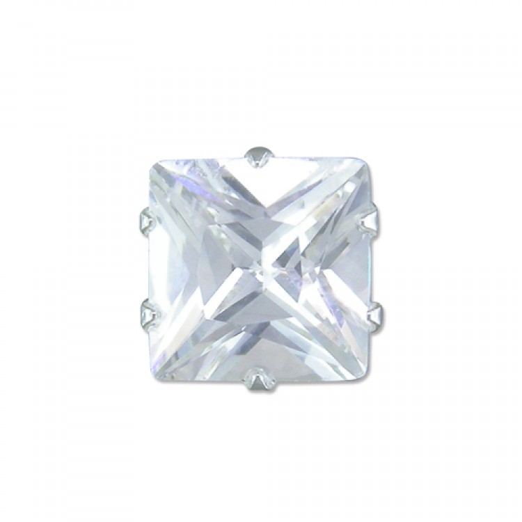Mens single square cubic zirconia stud 8mm