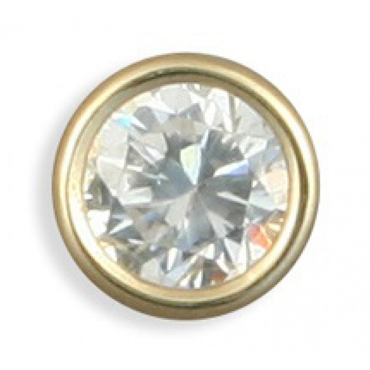 Mens round cubic zirconia stud 5mm