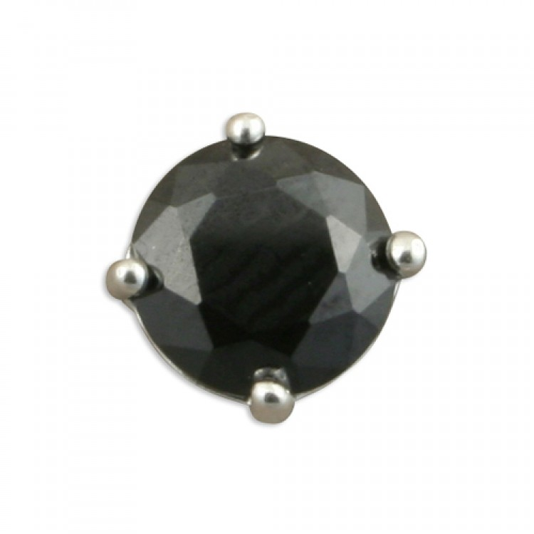 Mens single round black cubic zirconia stud 6mm