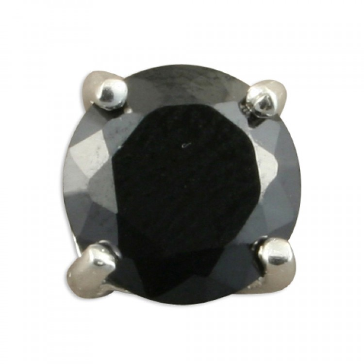 Mens single round black cubic zirconia stud 8mm