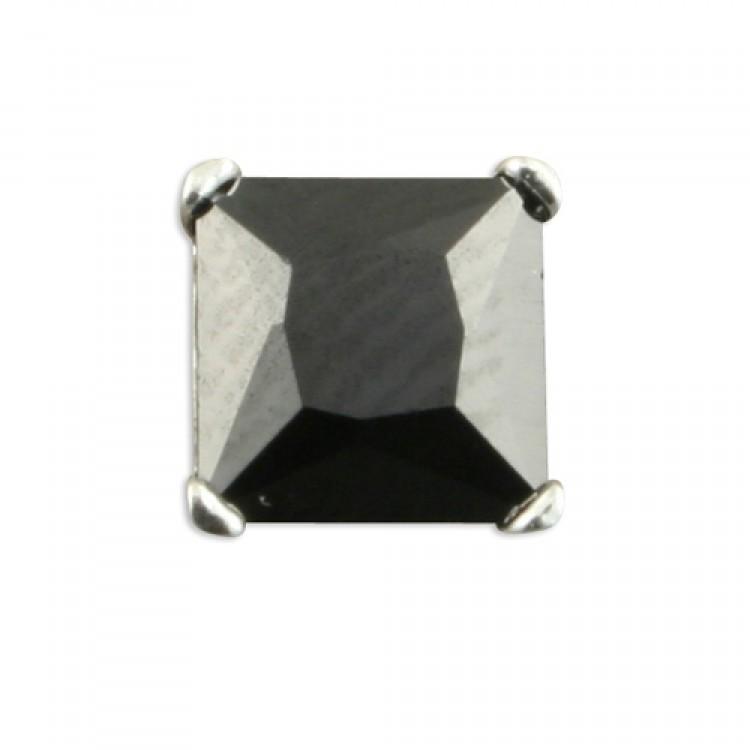Mens single square black cubic zirconia 6mm