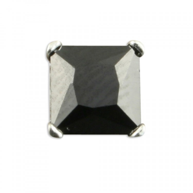 Mens single square black cubic zirconia 6mm
