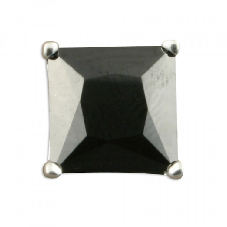Mens single square black cubic zirconia stud 8mm