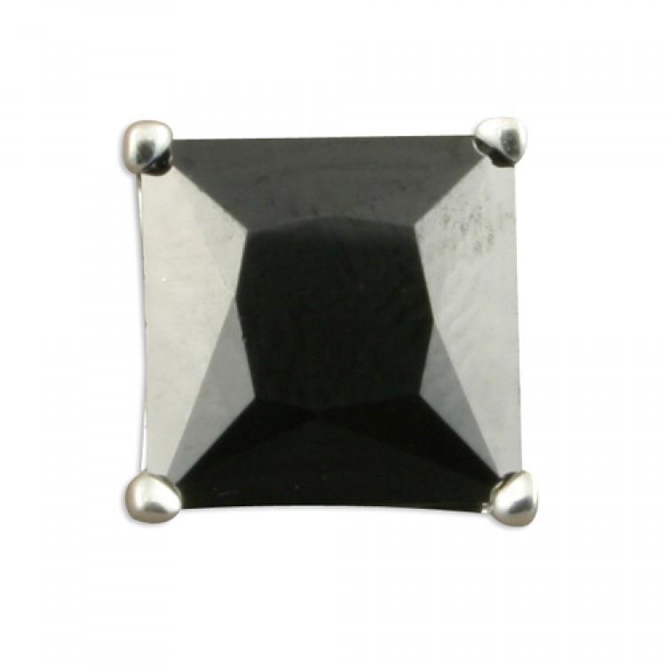 Mens single square black cubic zirconia stud 8mm