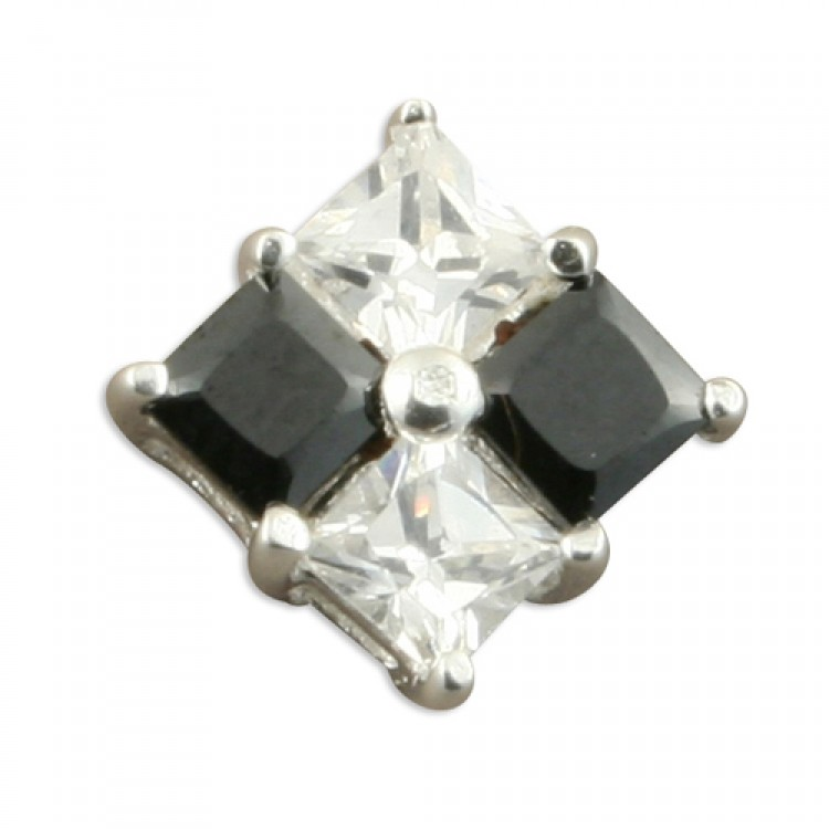 Mens single black and white cubic zirconia stud 6mm
