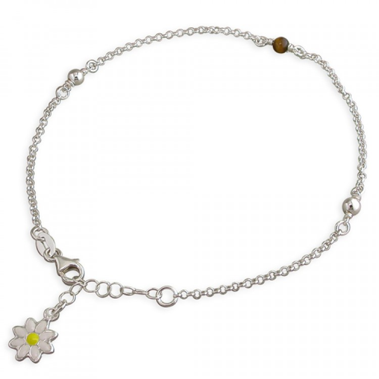 22.5-25cm-8.5-10in tiger eye and plain beads with enamel