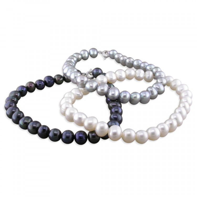19cm/7.5in white-grey-black fresh water pearl triple set
