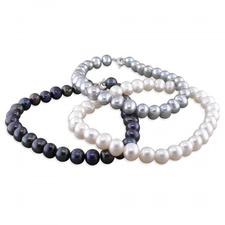 19cm/7.5in white-grey-black fresh water pearl triple set