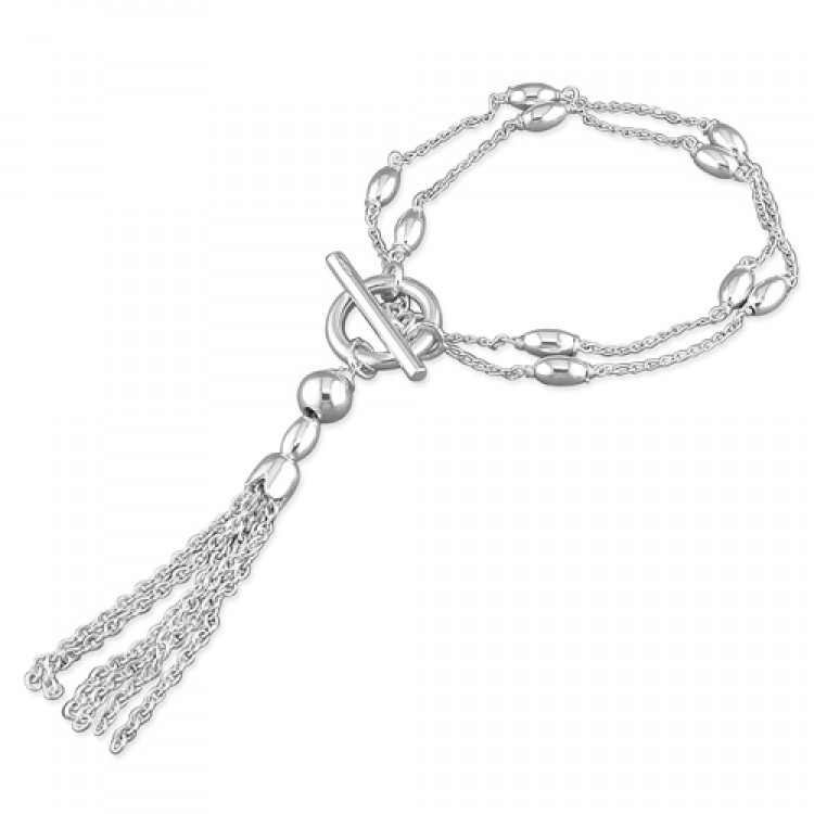 18.5cm/7.25in double fancy oval beads chain with T-bar and tassel