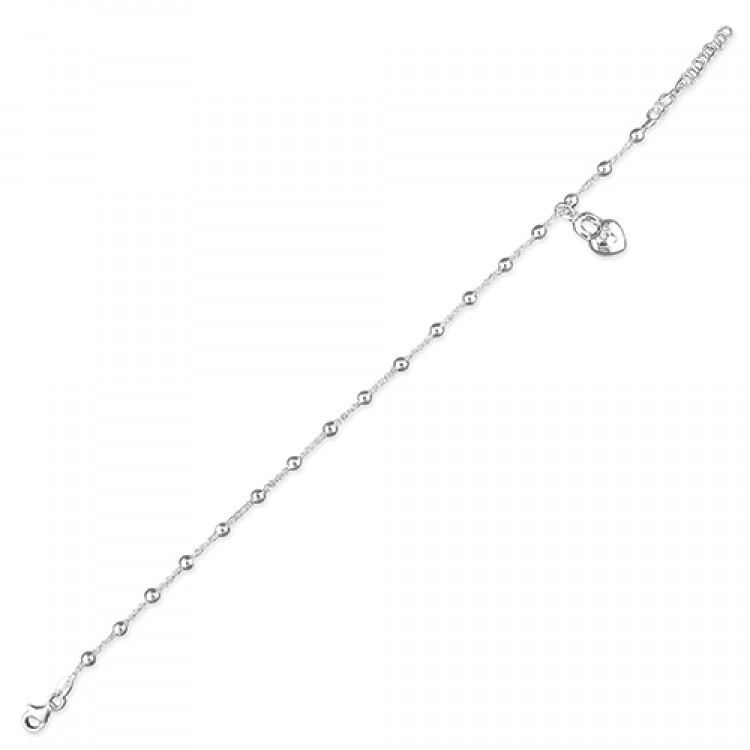 19cm/7.5in beads with padlock charm