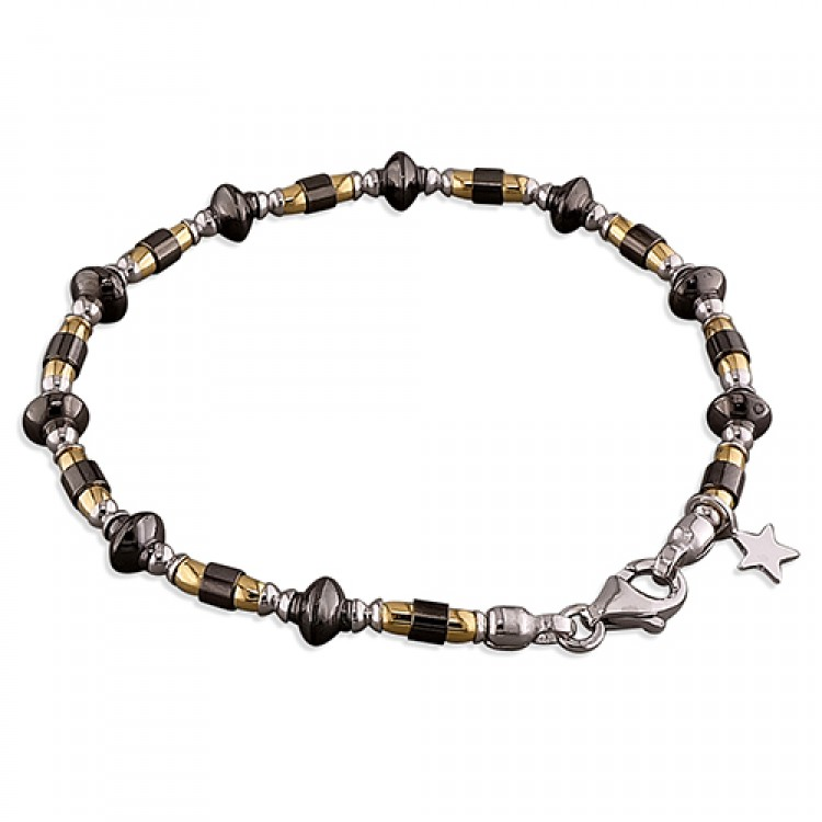 19cm/7.5in rhodium -ruthenium-gold plated beads