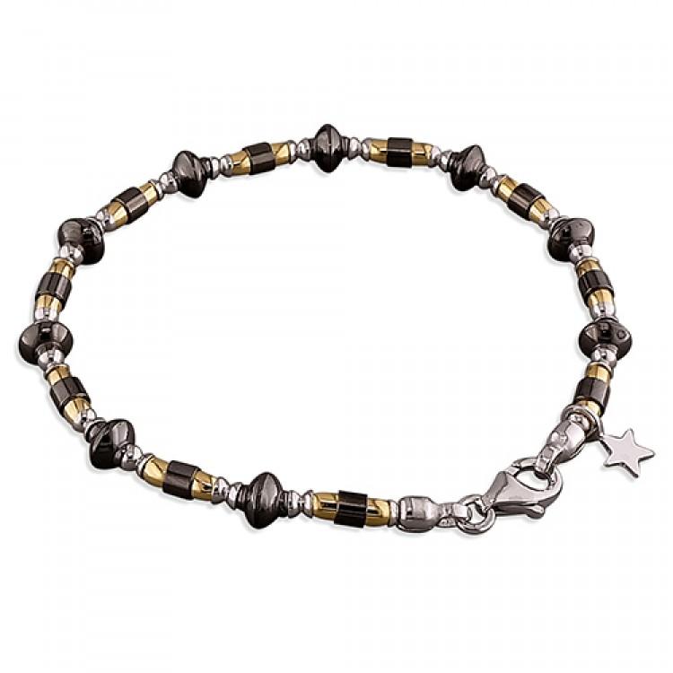 19cm/7.5in rhodium -ruthenium-gold plated beads