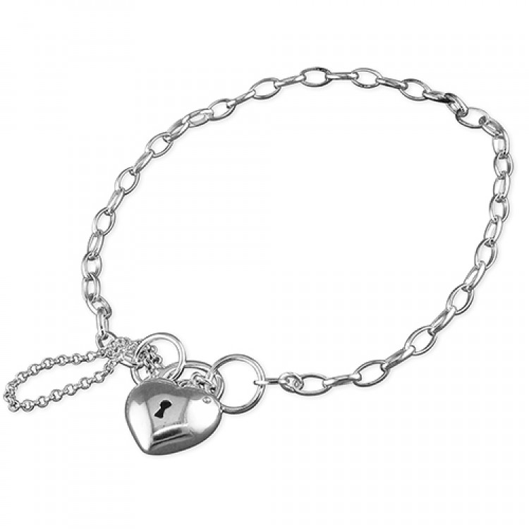 19cm/7.5in charm with plain heart padlock