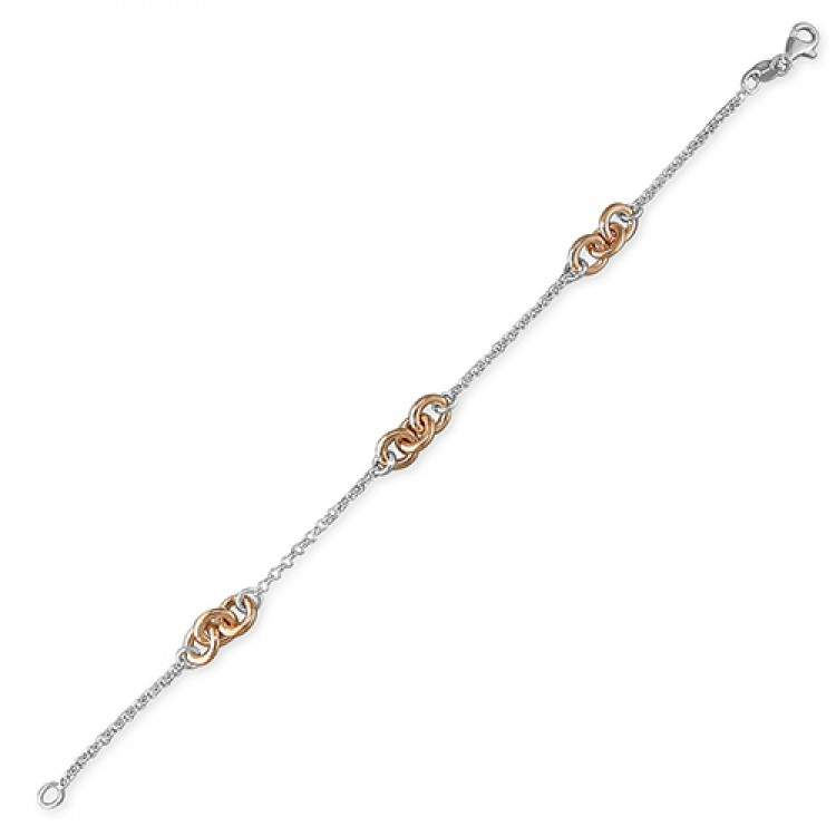 19cm/7.5in rose gold/silver two-tone chains