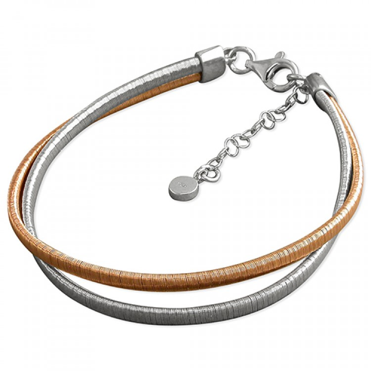 19-22cm rhodium and rose gold-plated 2-strand