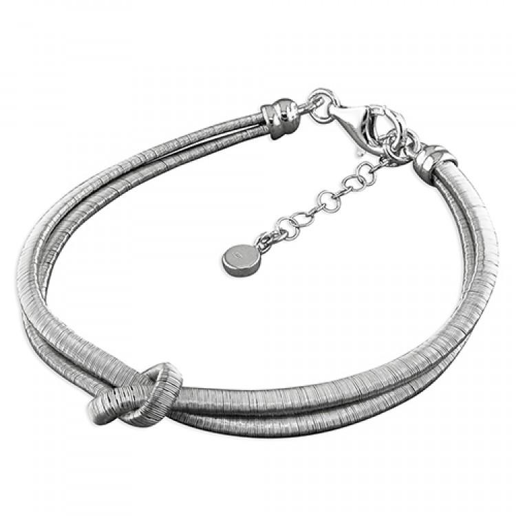 19-22cm rhodium-plated 2-strand knot