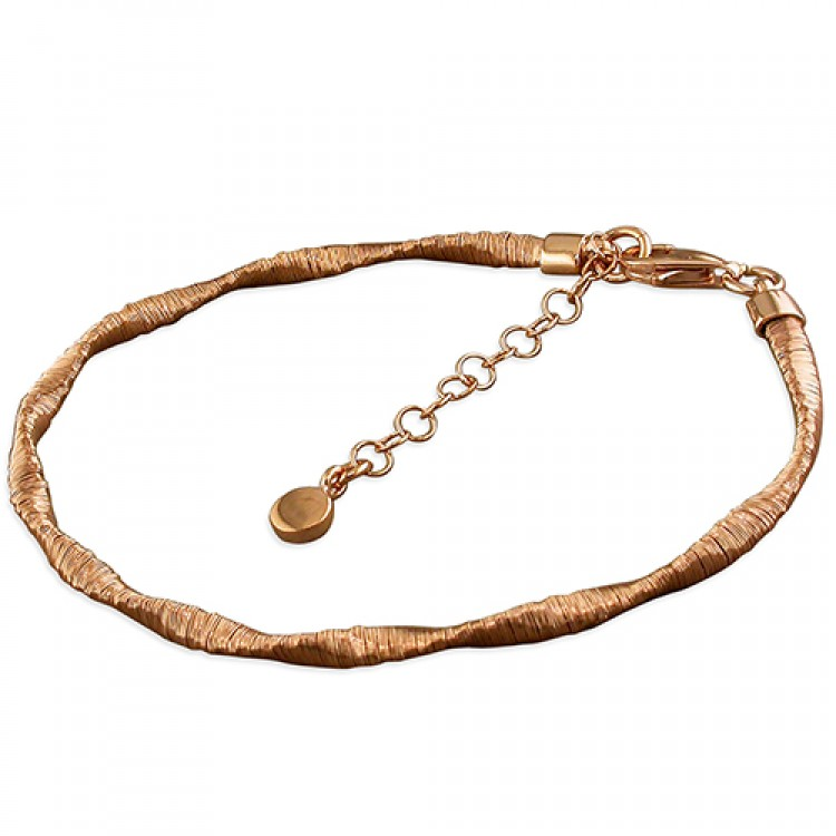 19-22cm rose gold-plated 3mm twisted wire-wrap