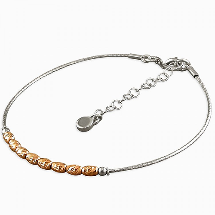 19-22cm rose gold-plated beads on rhodium-plated cable