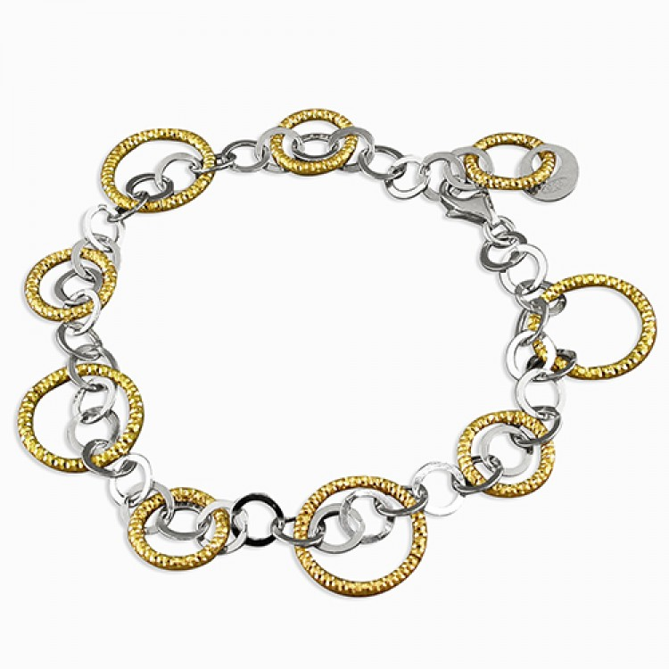 19cm small rhodium-plated circles and large gold-plated D/C