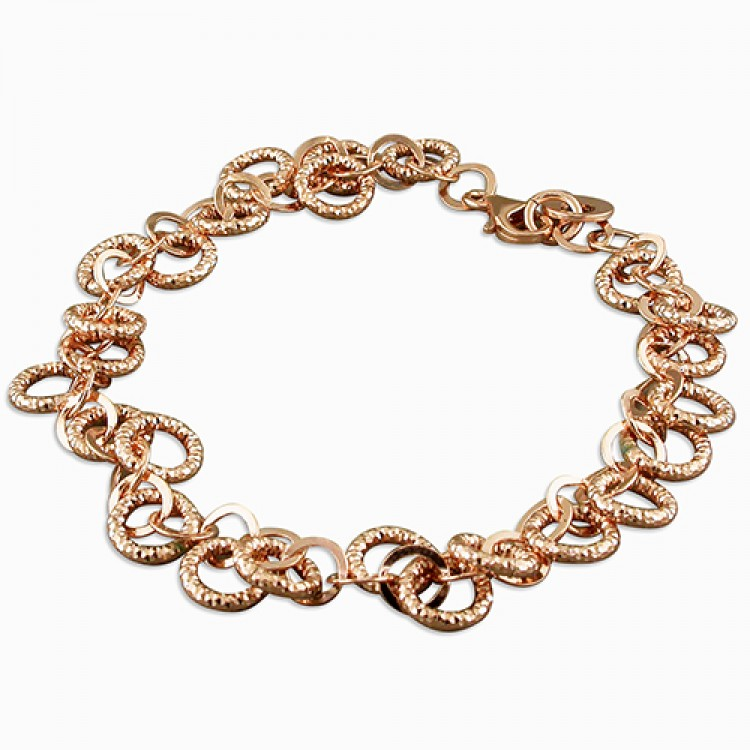19cm rose gold-plated small diamond-cut circles