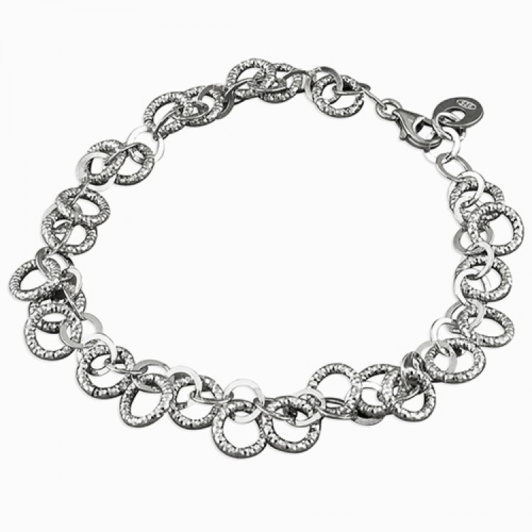 19cm rhodium-plated small diamond-cut circles