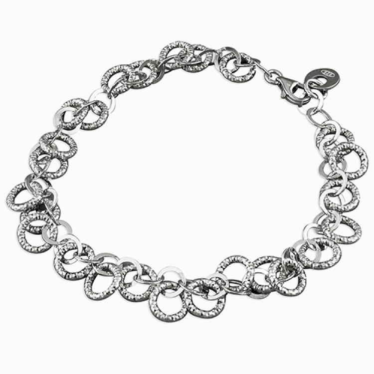 19cm rhodium-plated small diamond-cut circles