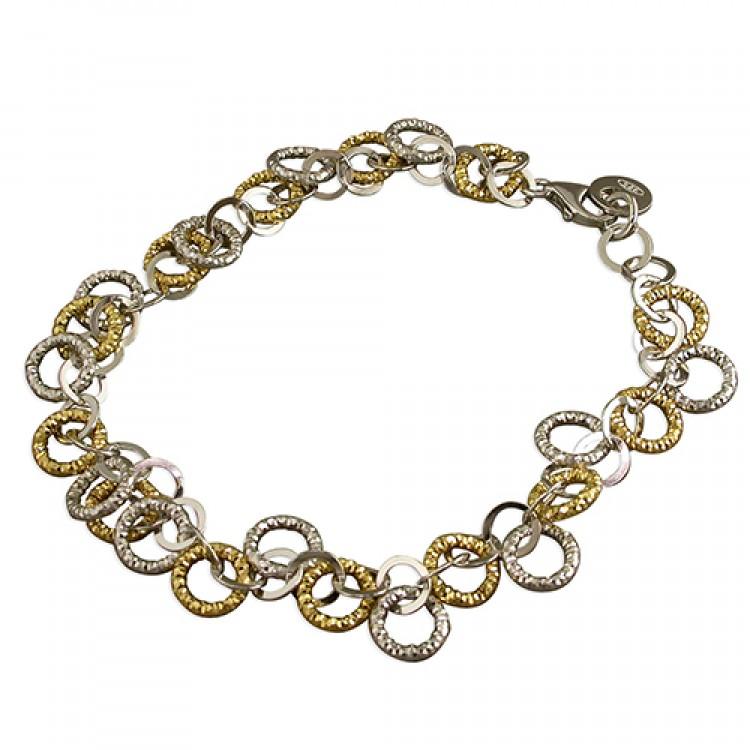 19cm gold-plated small diamond-cut circles